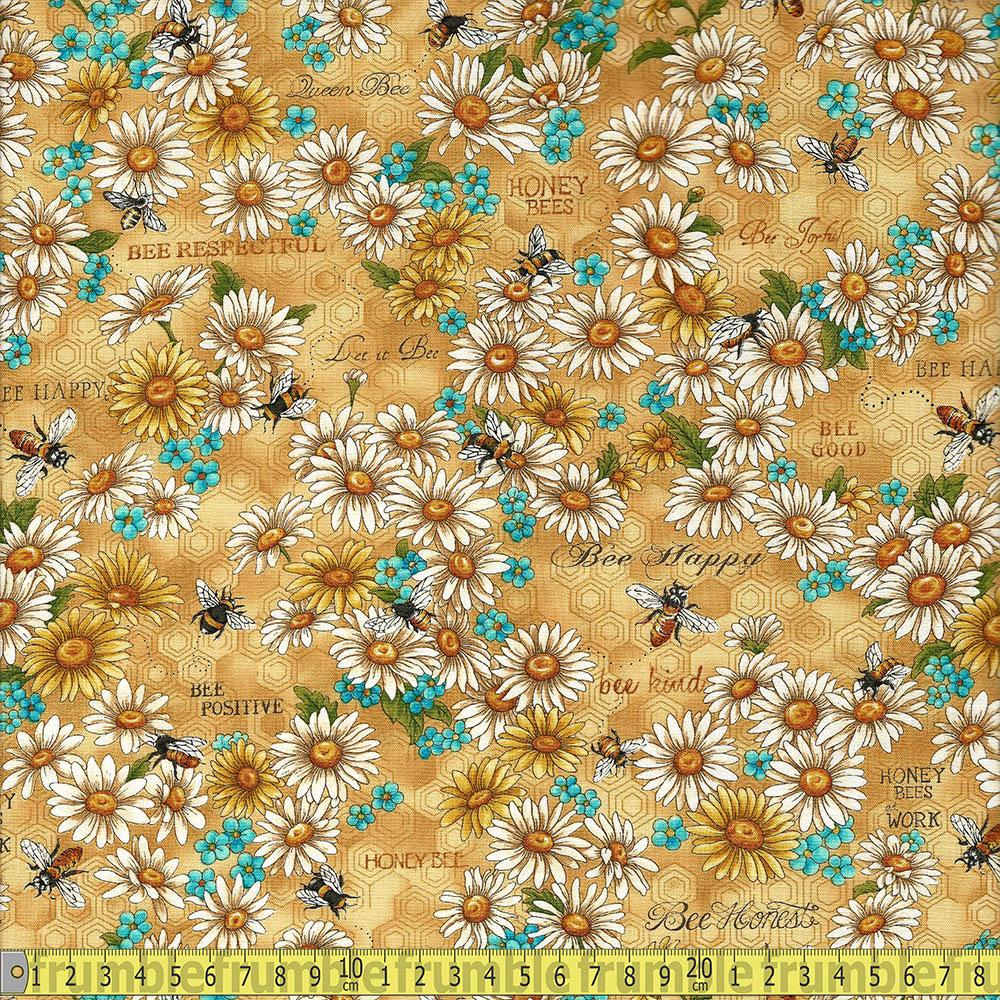 Bee Kind Flowers and Works Gold Fabric by Paintbrush Studio