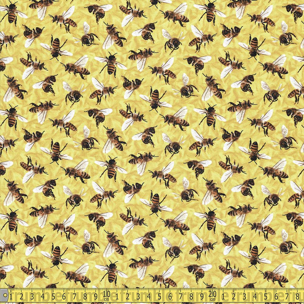 Frolicking Fields Honey Bees Yellow Fabric by Paintbrush Studio