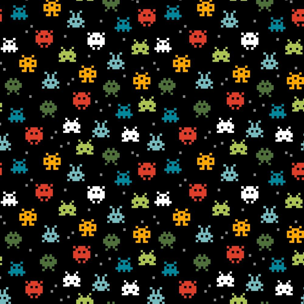 Pixel Game - GOTS Organic Printed Jersey - Black Sewing and Dressmaking Fabric