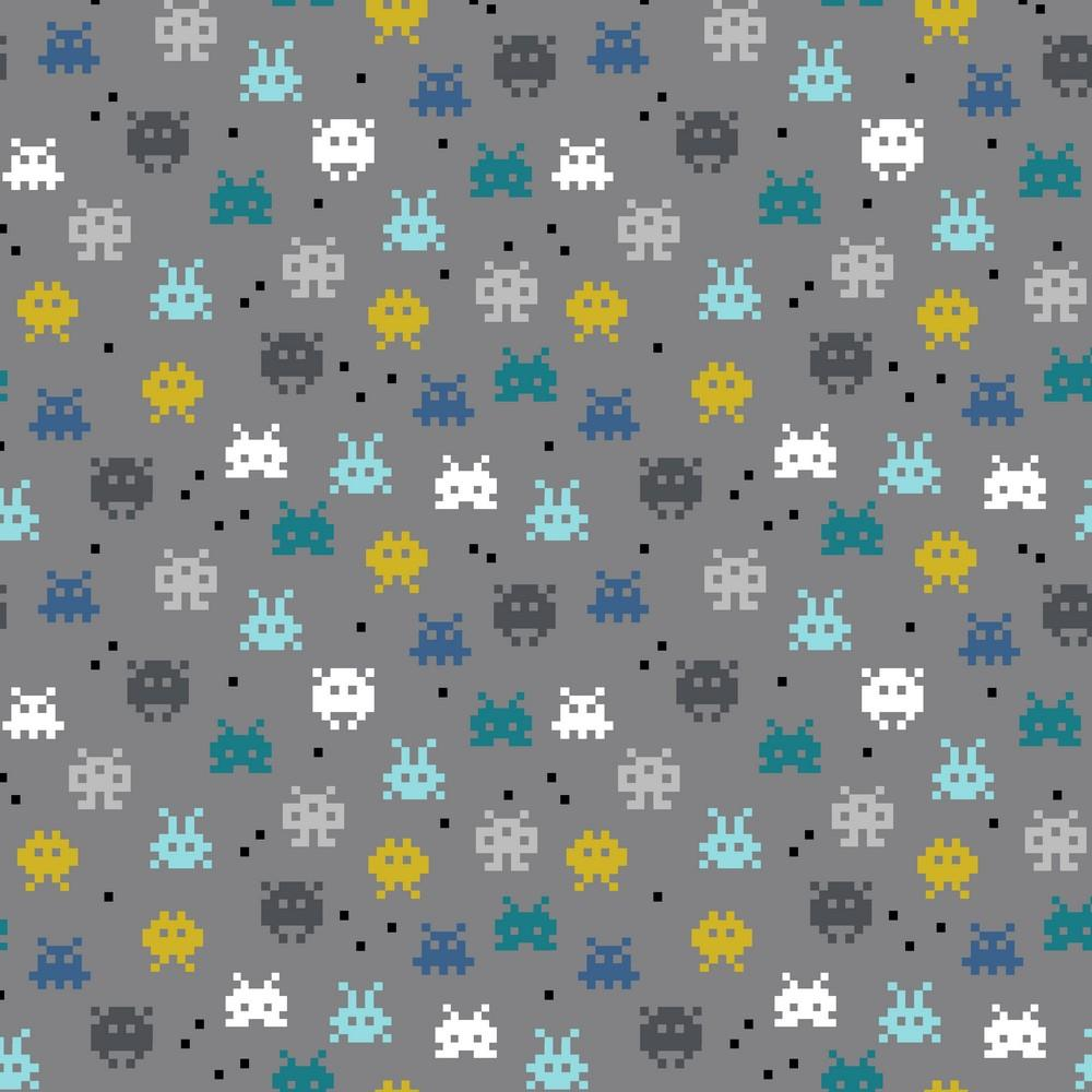 Pixel Game - GOTS Organic Printed Jersey - Grey Sewing and Dressmaking Fabric