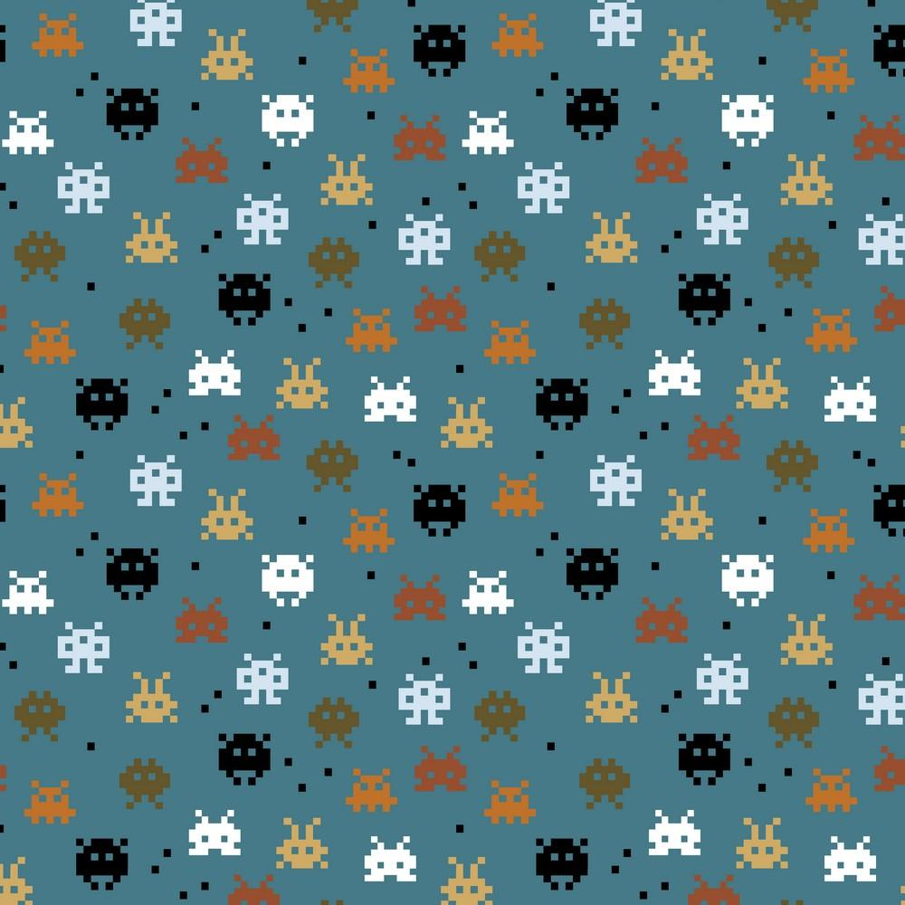 Pixel Game - GOTS Organic Printed Jersey - Jeans Blue Sewing and Dressmaking Fabric