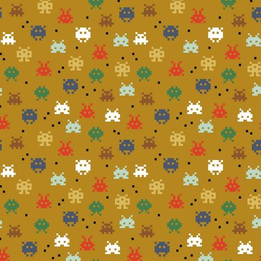 Pixel Game - GOTS Organic Printed Jersey - Ochre Sewing and Dressmaking Fabric