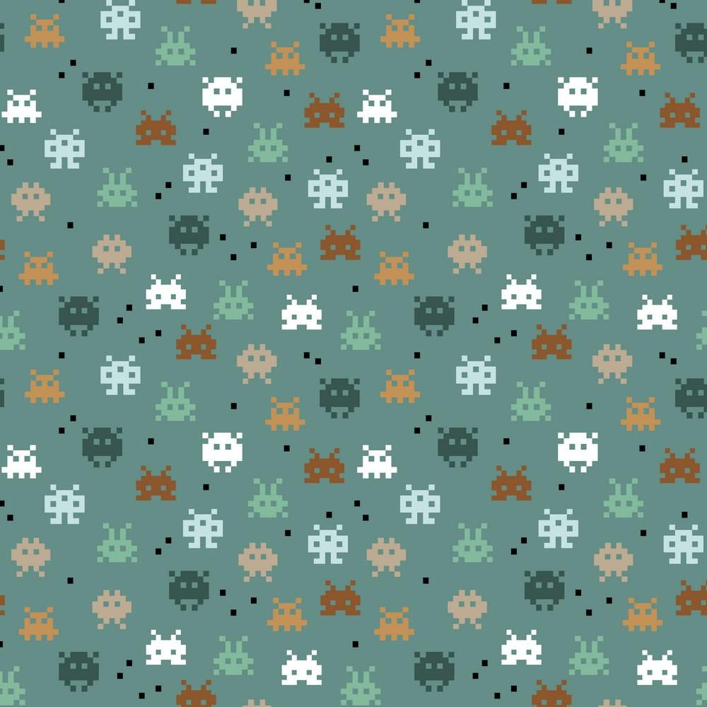 Pixel Game - GOTS Organic Printed Jersey - Old Green Sewing and Dressmaking Fabric