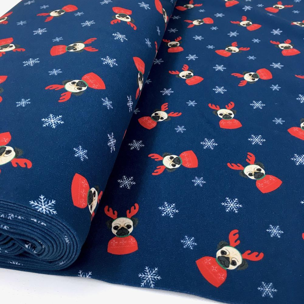 Pug Dog Christmas - Brushed French Terry - Blue Sewing and Dressmaking Fabric