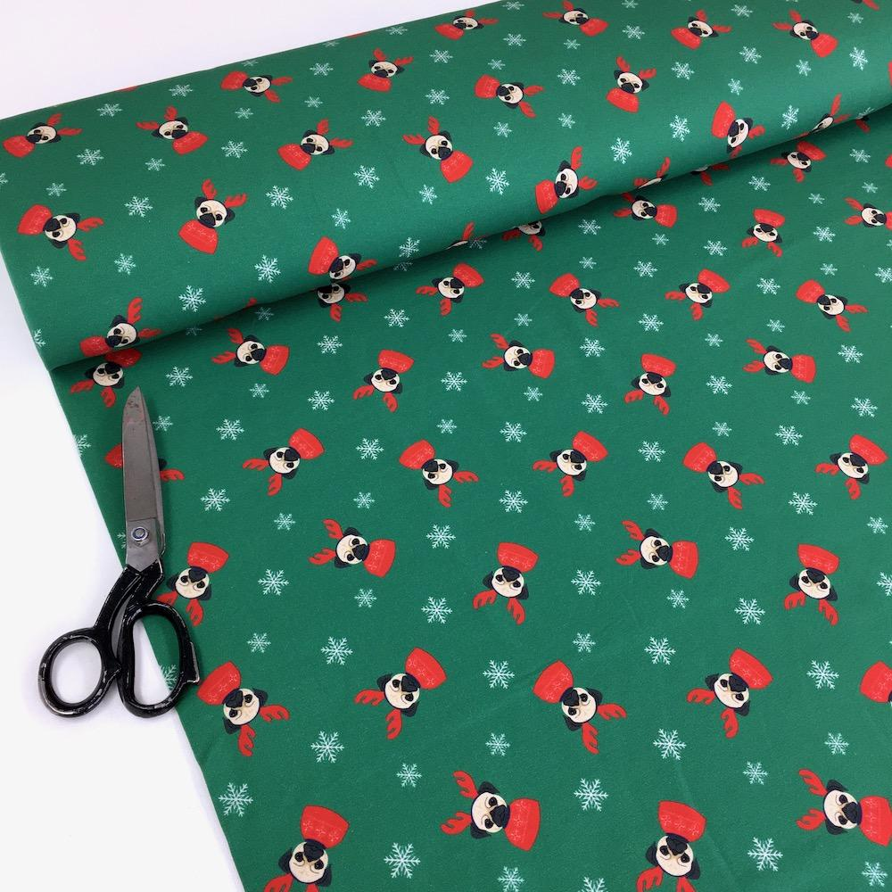 Pug Dog Christmas - Brushed French Terry - Green Sewing and Dressmaking Fabric