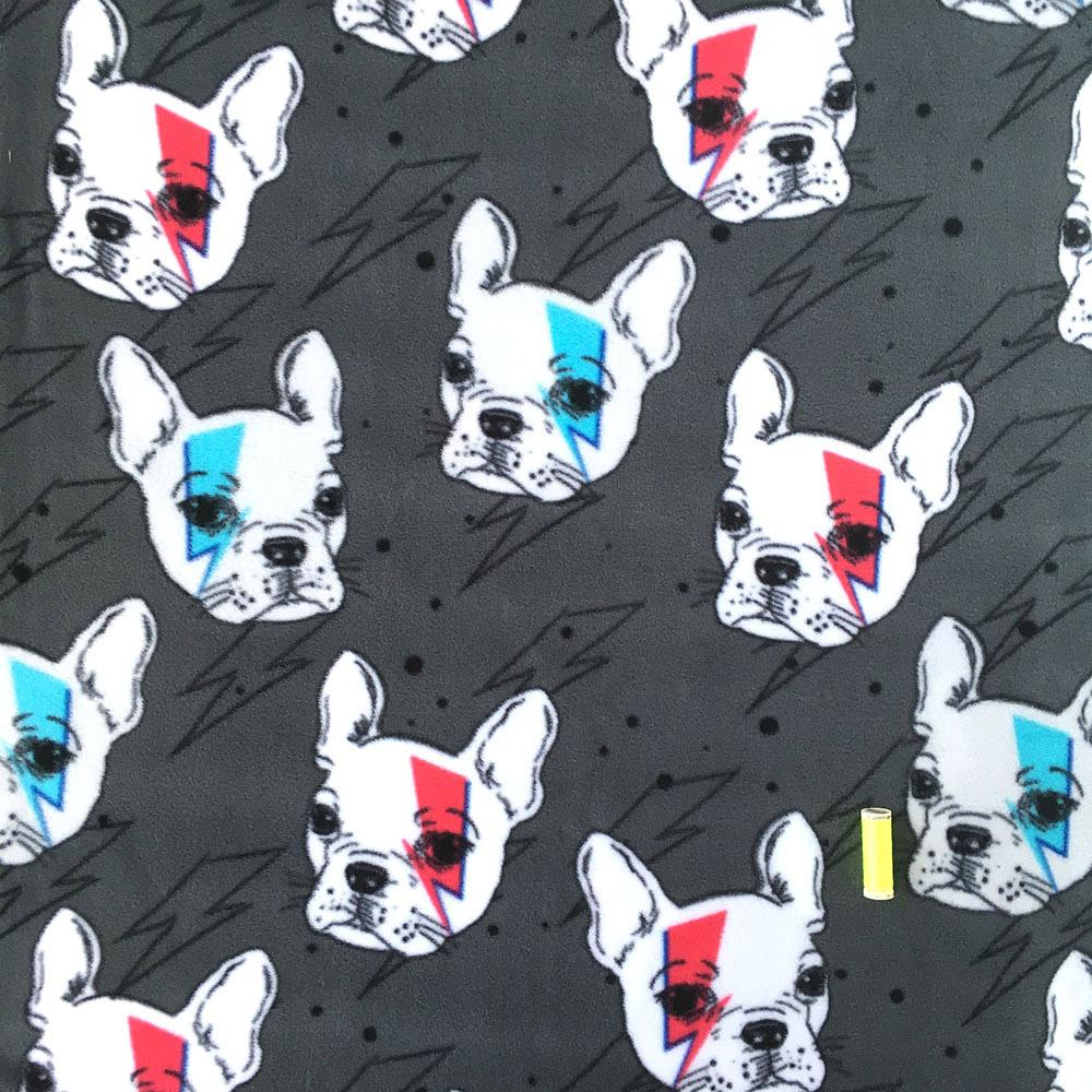 FLEECE French Brit Pup - Ziggy Frenchie Fabric by David Textiles
