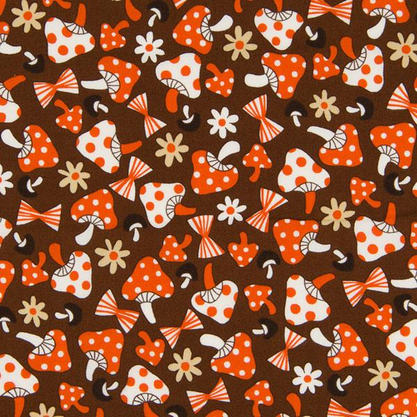 Tick Tack Retro Mushroom Brown Fabric by Quilt Gate