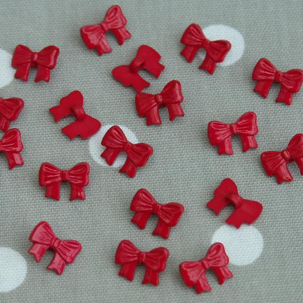 Bow Sewing Buttons - Red 10 pack