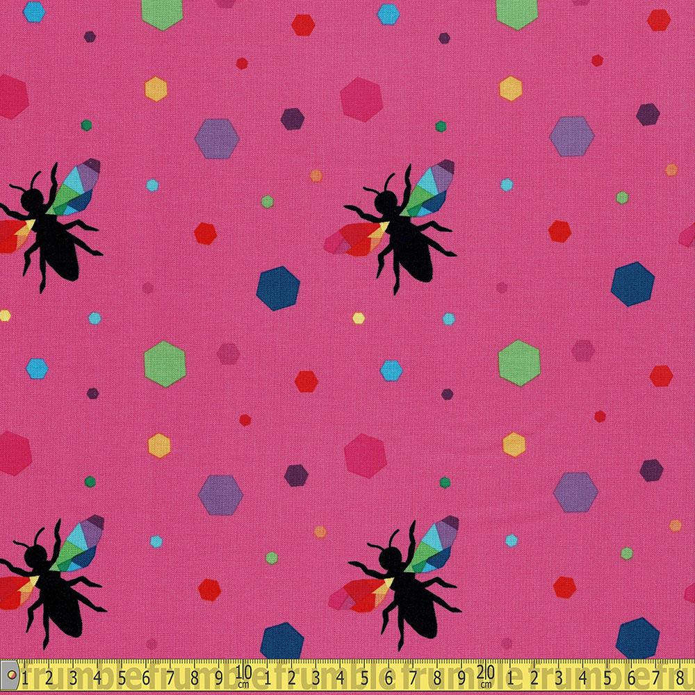 Riley Blake - Create - Bees and Hexagons Pink Sewing Fabric
