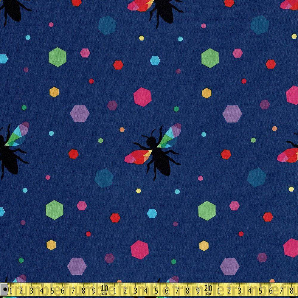 Riley Blake - Create - Rainbow Bumblebee Navy Sewing and Dressmaking Fabric