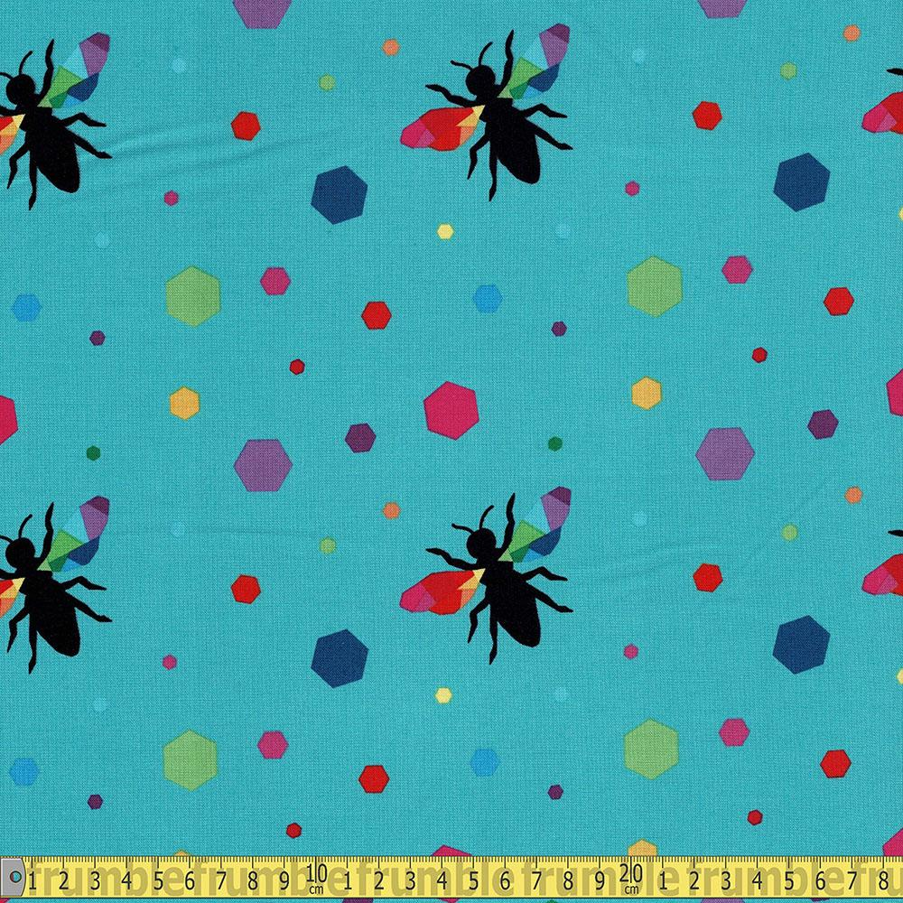 Riley Blake - Create - Rainbow Bumblebee Turquoise Sewing and Dressmaking Fabric