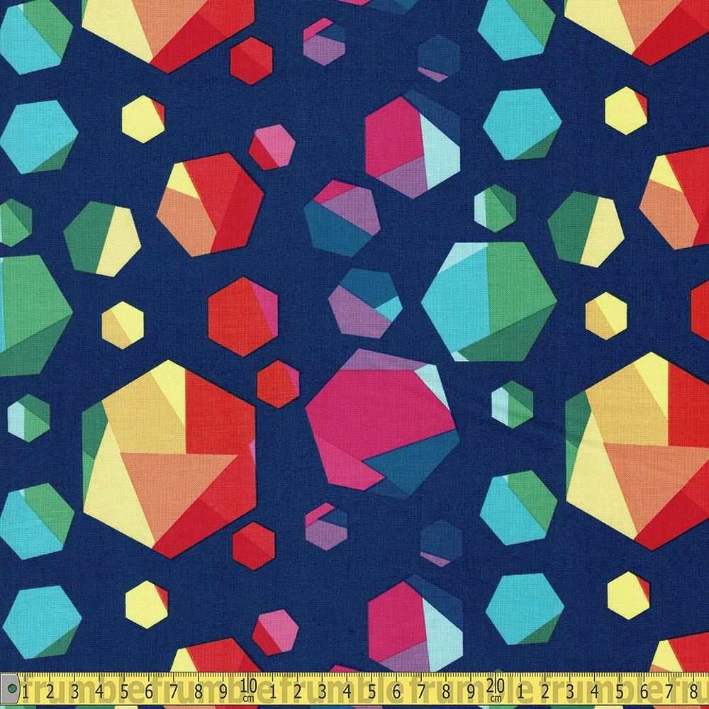 Riley Blake - Create - Rainbow Hexagons Navy Sewing and Dressmaking Fabric
