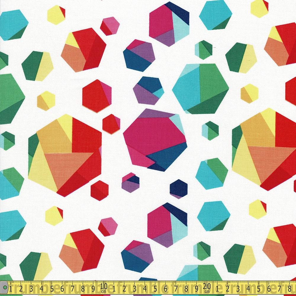 Riley Blake - Create - Rainbow Hexagons White Sewing and Dressmaking Fabric