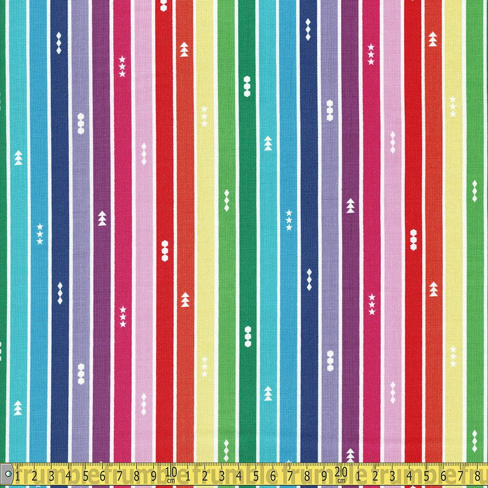 Create Rainbow Stripe White - Frumble Fabrics