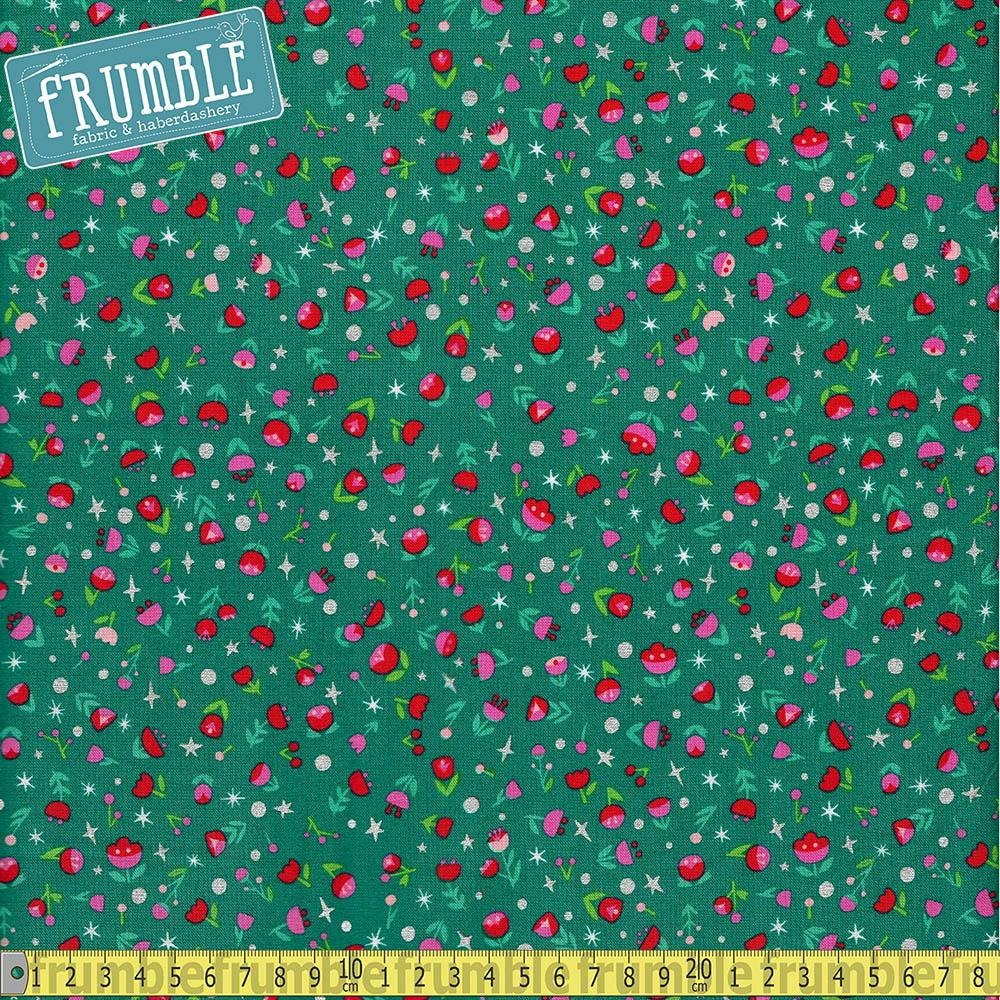 Dorothys Journey Poppy Emerald Sparkle Fabric by Riley Blake