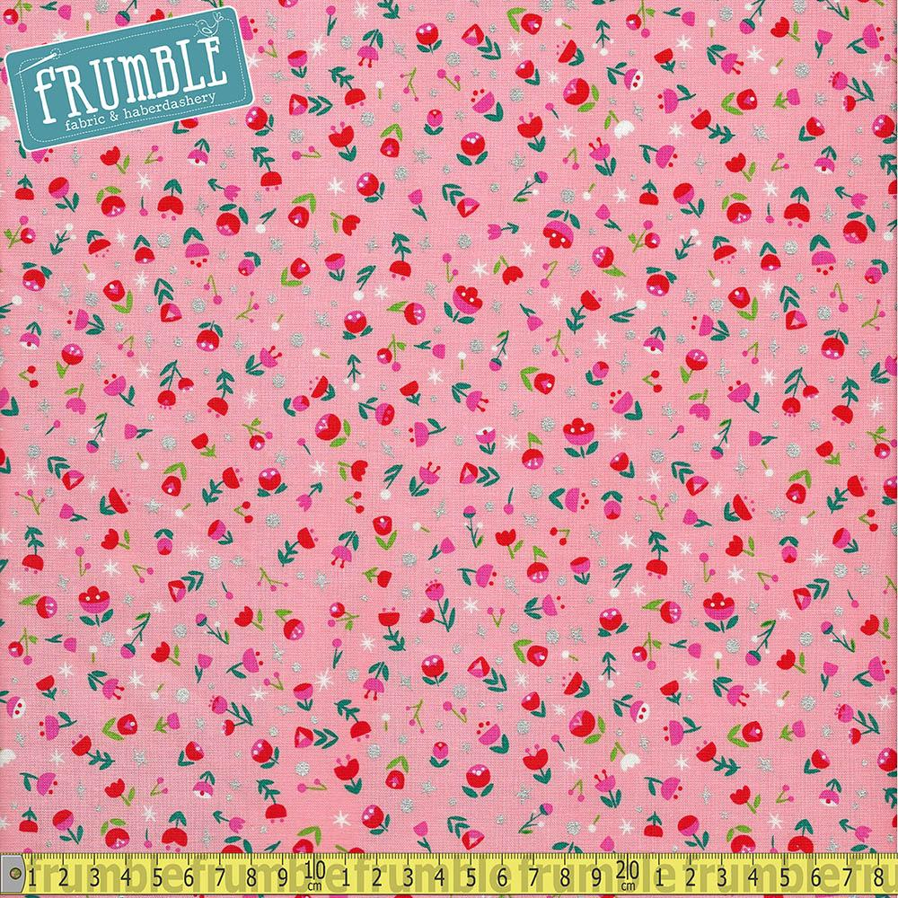 Dorothys Journey Poppy Pink Sparkle Fabric by Riley Blake