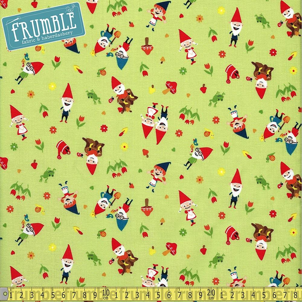Gnome And Gardens Gnoming Around Green - Frumble Fabrics