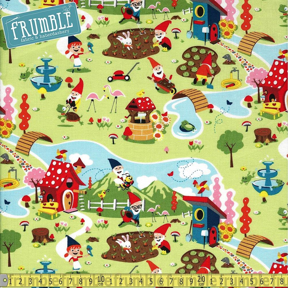 Gnome And Gardens Scene Green - Frumble Fabrics