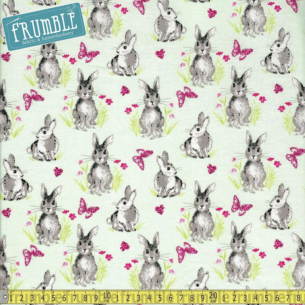 Pretty Bunnies And Flowers Mint Fabric by Riley Blake