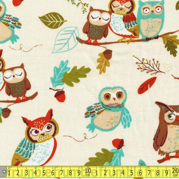 Forest Fellows Owls Nature Cream Fabric by Robert Kaufman