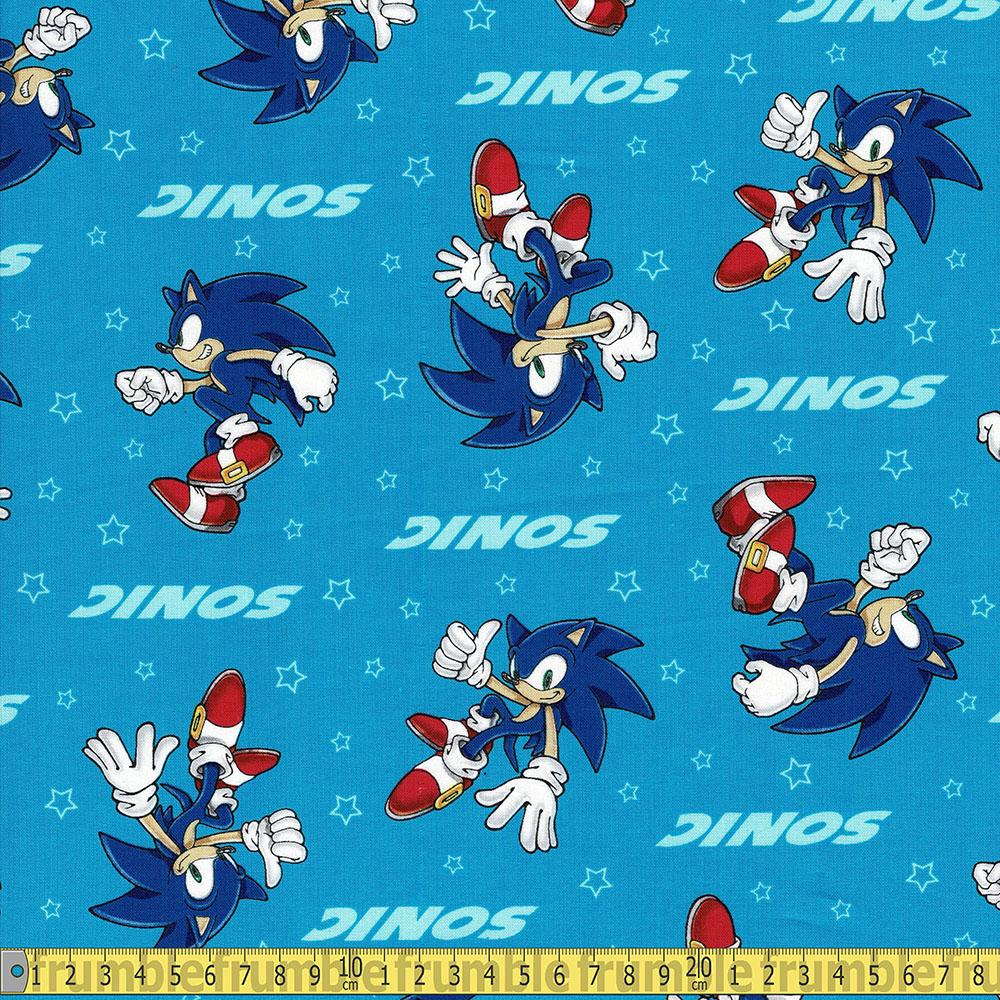 Fabric Fault Sonic The Hedgehog Solo Stars Blue Fabric by Robert Kaufman