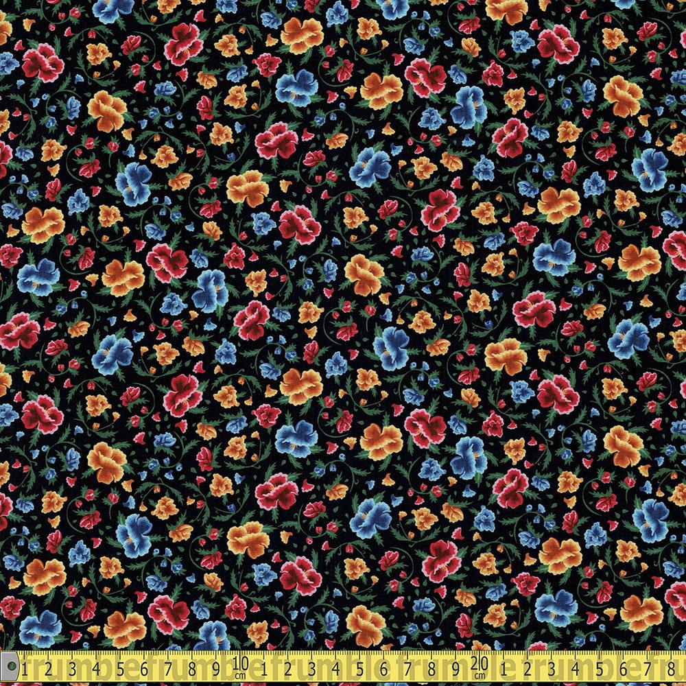 Frida Kahlo Ditsy Floral Black Fabric by Robert Kaufman