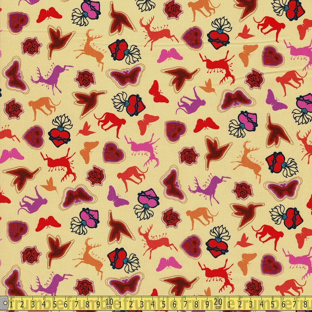 Frida Kahlo Icon Symbols Yellow - Frumble Fabrics