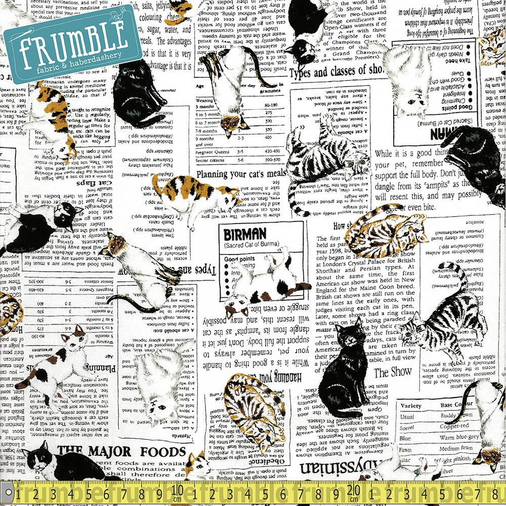 Whiskers And Tails Cat In The News - Frumble Fabrics
