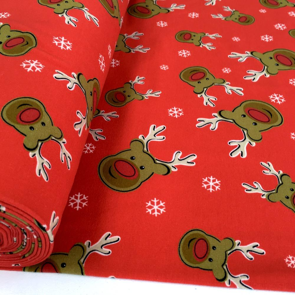 Rudolph The Reindeer - Brushed French Terry - Red Sewing and Dressmaking Fabric