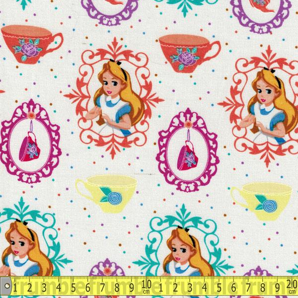 Alice And Teacup White Fabric by Springs Creative