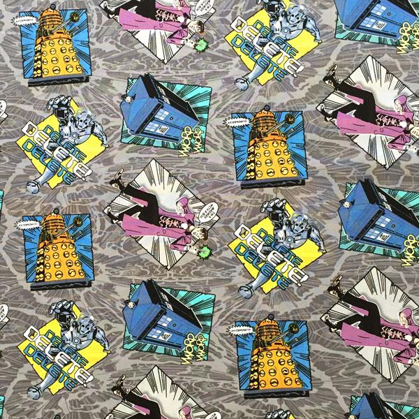 Doctor Who Madman In A Box Grey Fabric by Springs Creative