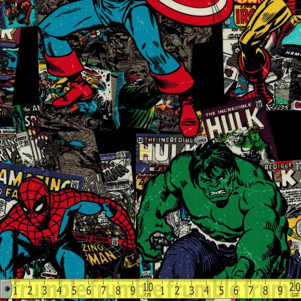 Marvel Retro Vintage Character Toss Black Fabric by Springs Creative