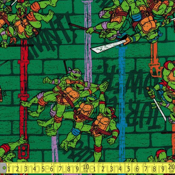TMNT Sewer Pipe Stripe Green Fabric by Springs Creative
