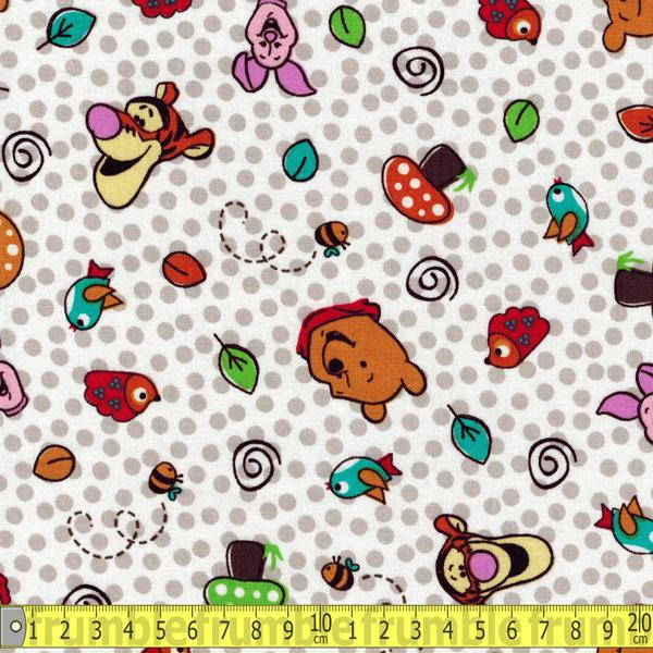 Winnie The Pooh Character Toss All Over White Fabric by Springs Creative