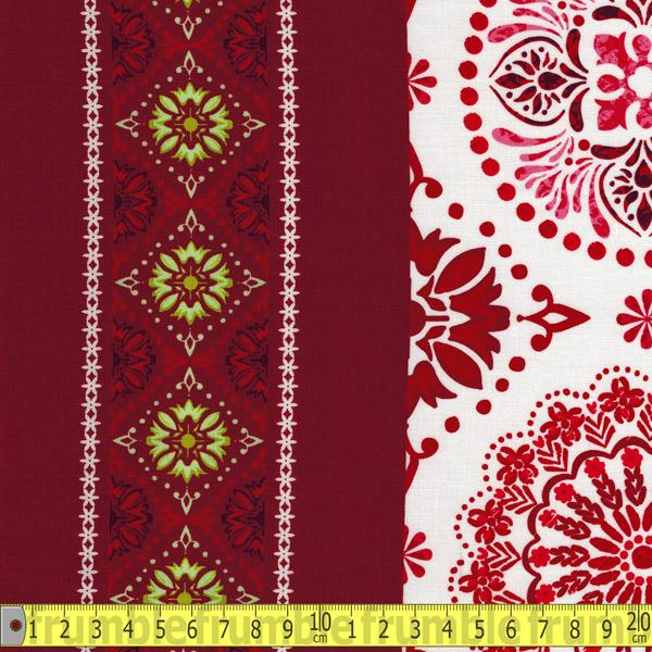 Holly Jolly Border Red Fabric by Studio E