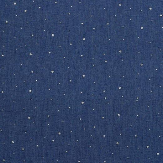 Silver Glitter Dot - Cotton Chambray Denim - Blue Sewing and Dressmaking Fabric