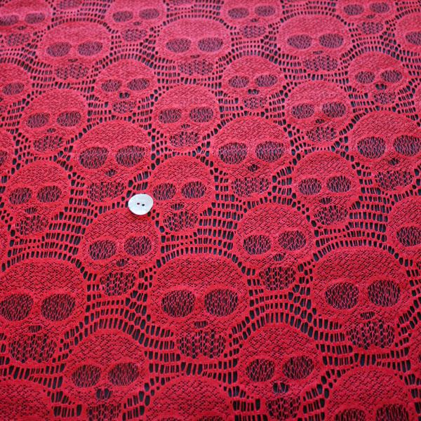 Skulls Lace Blood Red - Frumble Fabrics