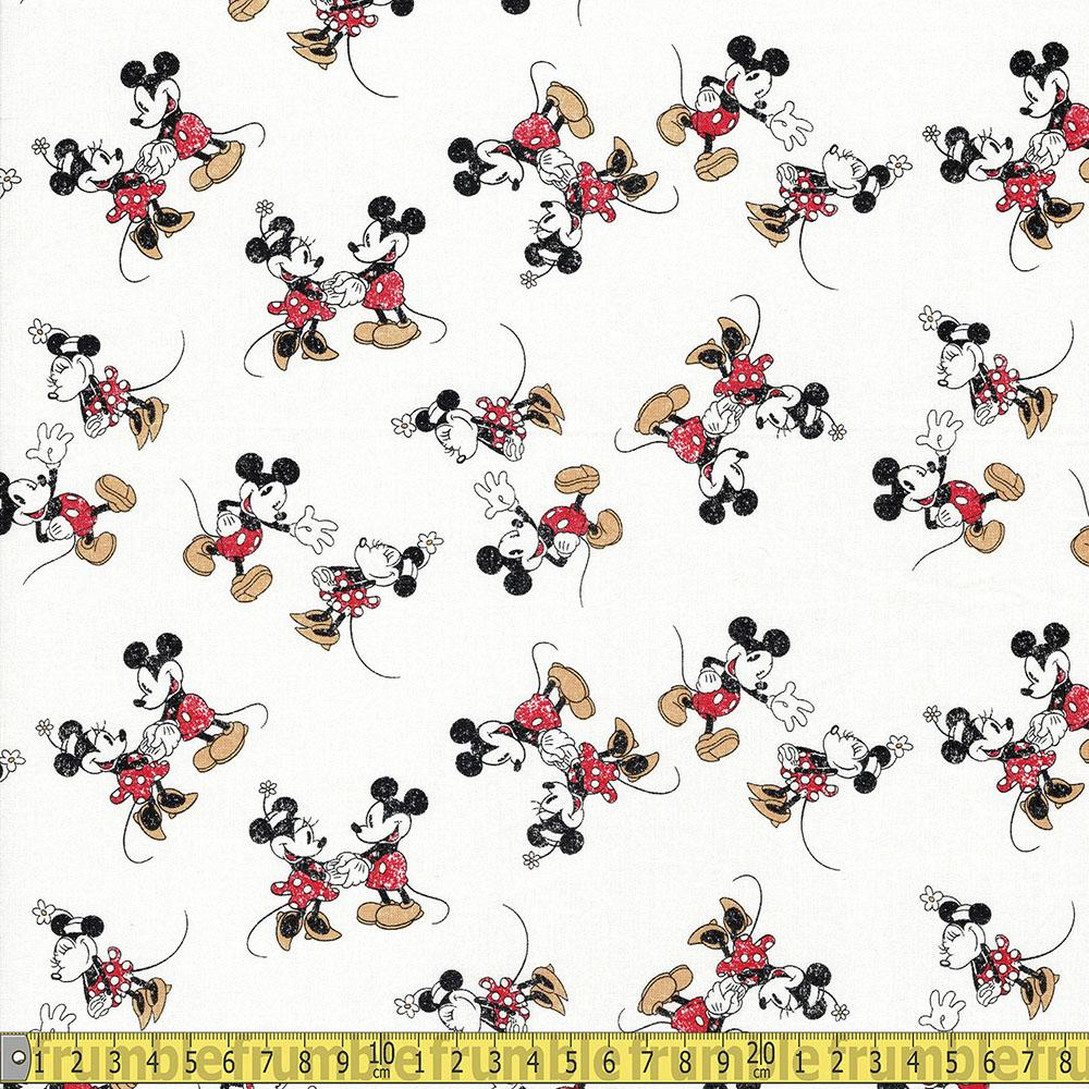 Springs Creative - Retro Minnie and Mickey Scattered - White Sewing and Dressmaking Fabric
