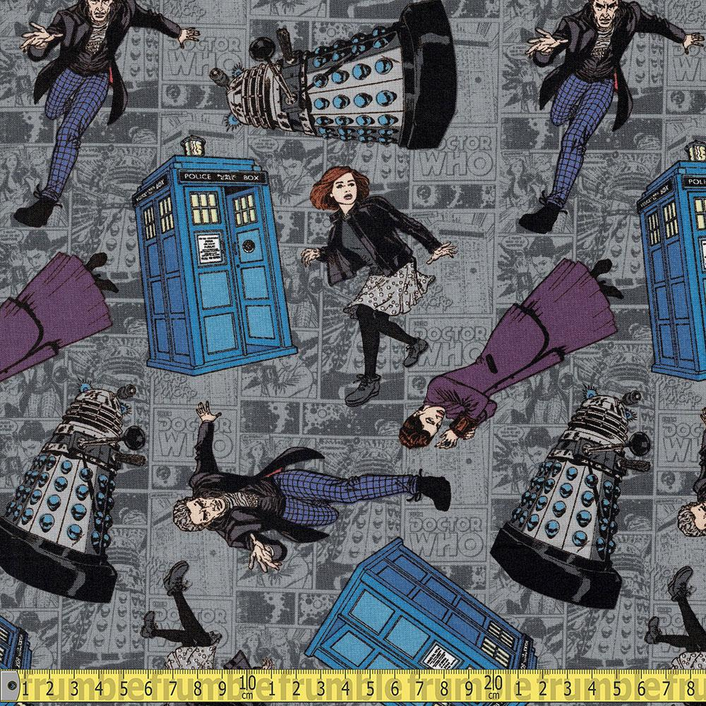 Doctor Who Character Toss Grey Fabric by Springs Creative