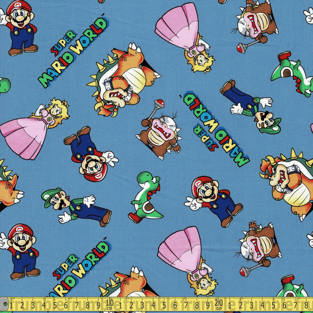 Super Mario and Friends Blue - Frumble Fabrics