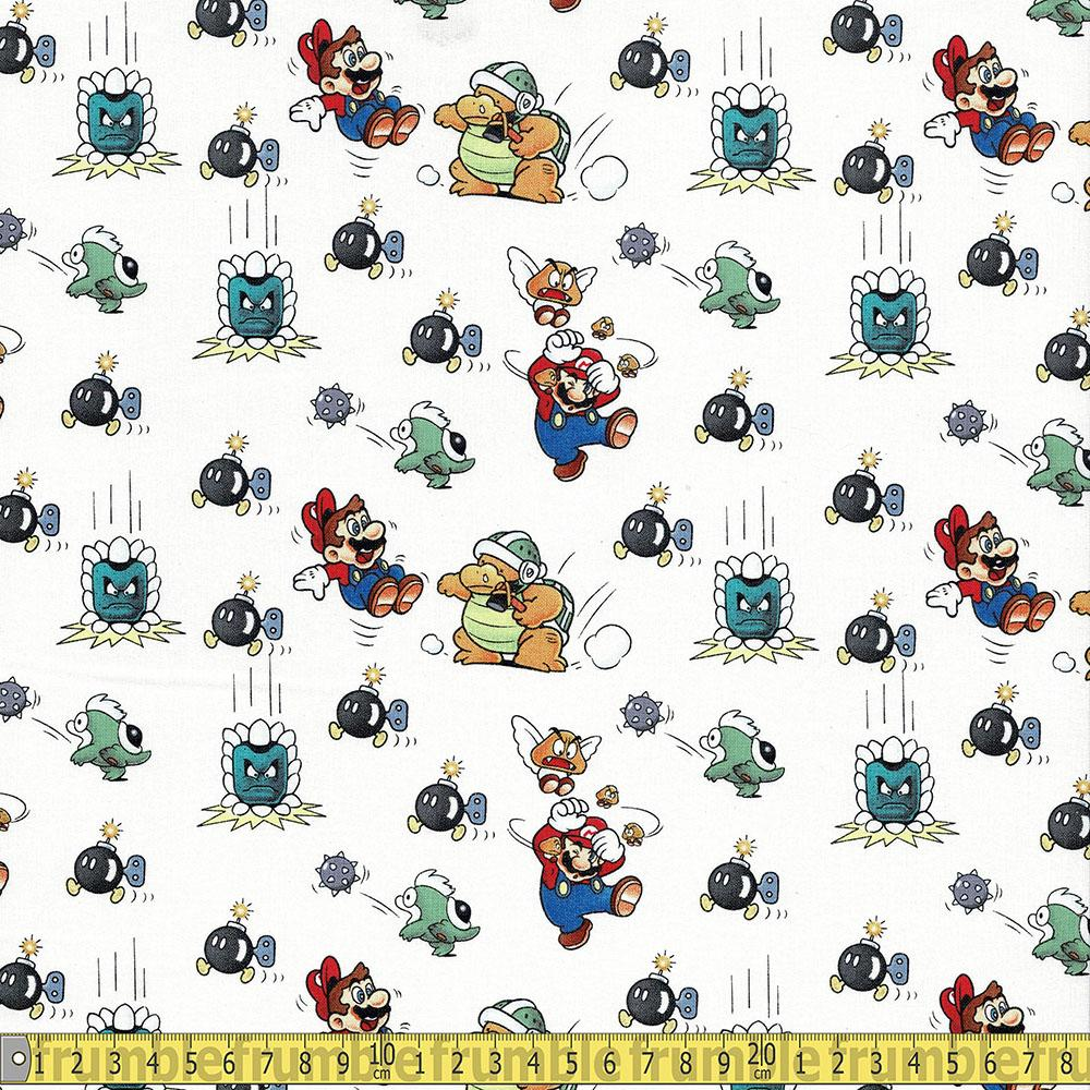 Super Mario Marios In Trouble White Fabric by Springs Creative