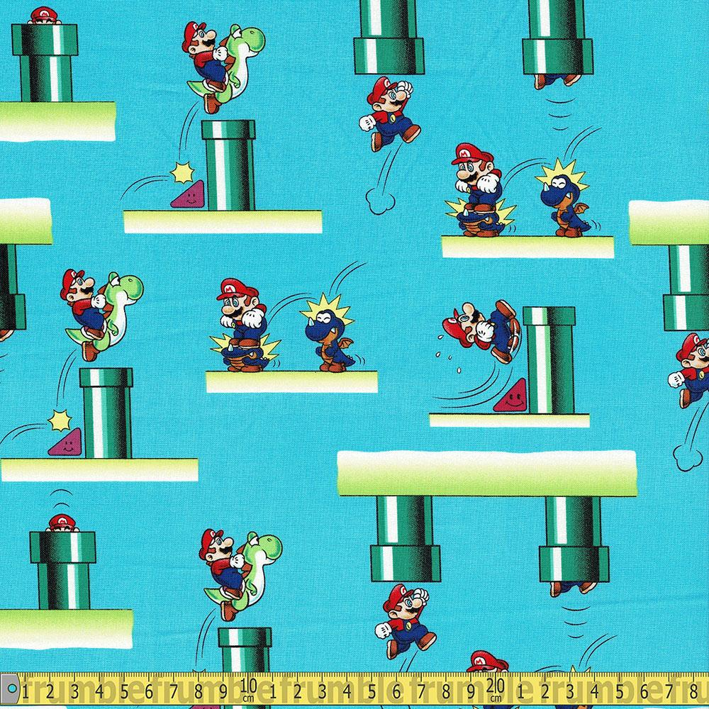 Super Mario Tunnels Blue Fabric by Springs Creative