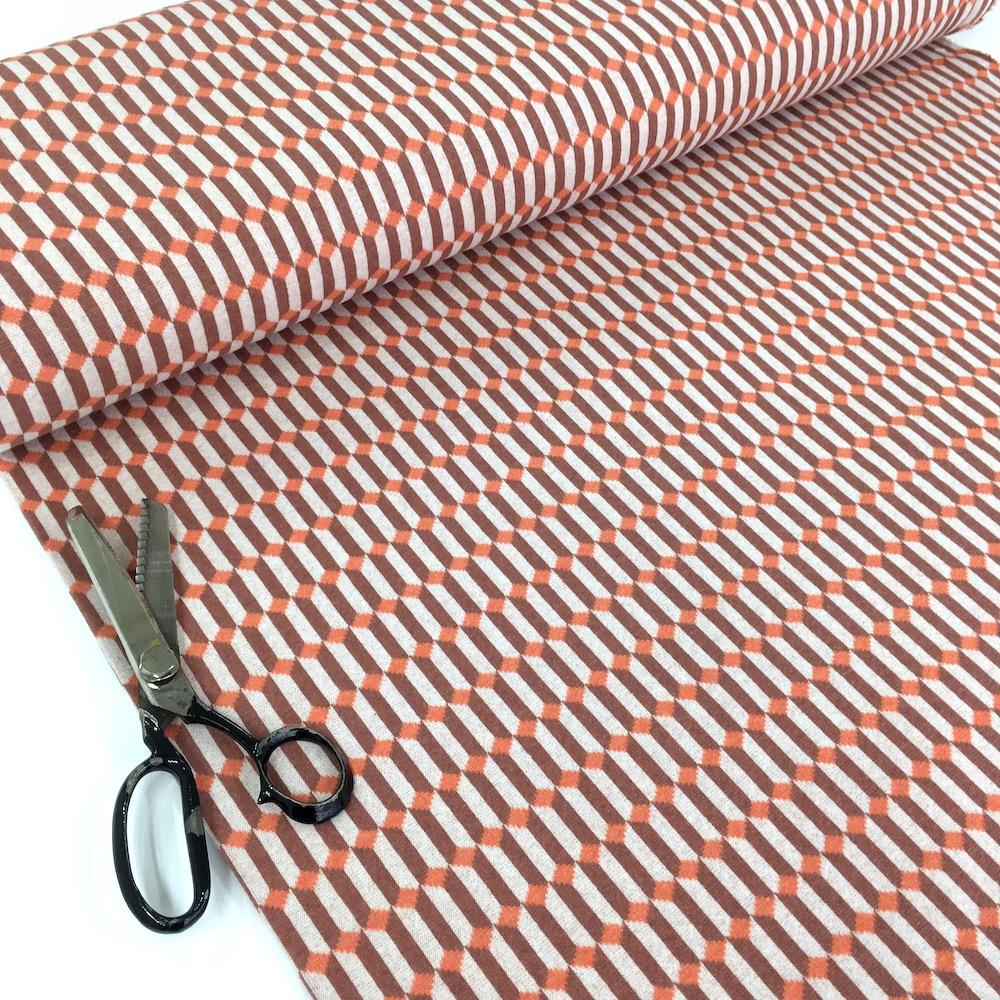Stacked Diamonds - Recycled Jacquard Knit - Terracotta Sewing and Dressmaking Fabric