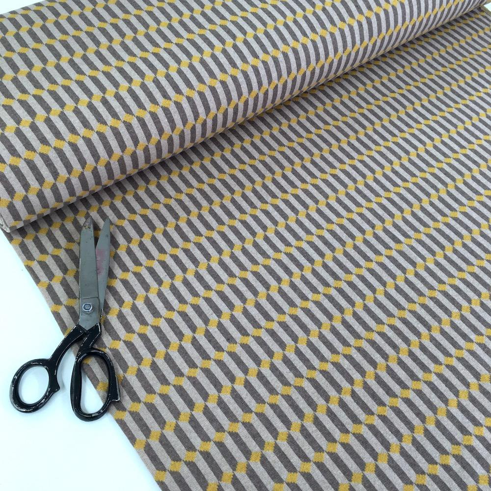 Stacked Diamonds - Recycled Jacquard Knit - Yellow Grey Sewing and Dressmaking Fabric