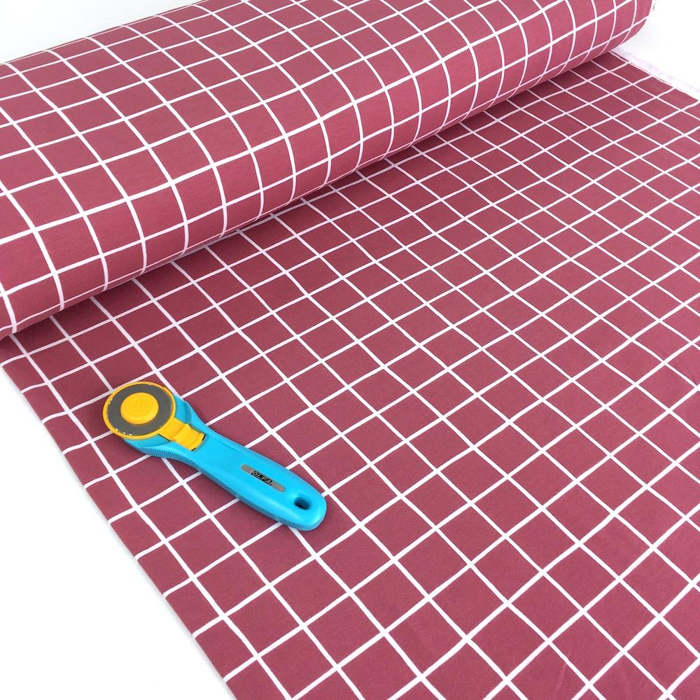 Super Soft Grid - GOTS Cotton Soft Sweat - Rose Pink Sewing and Dressmaking Fabric