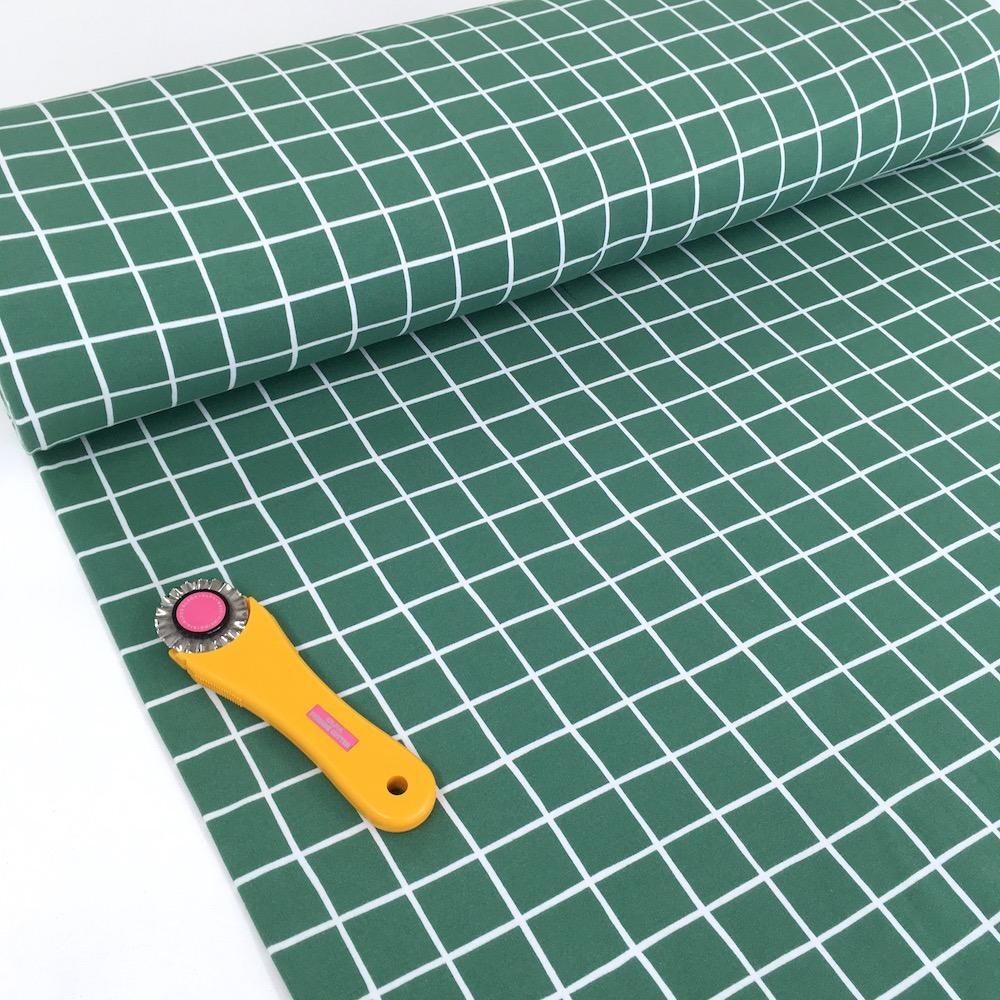 Super Soft Grid - GOTS Cotton Soft Sweat - Sage Green Sewing and Dressmaking Fabric