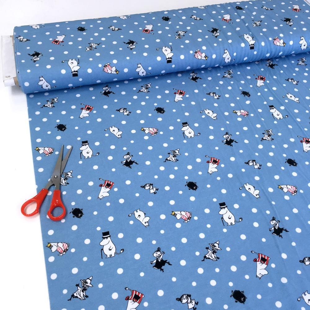 The Moomins Tossed Characters Polka Dot - Cotton Jersey - Blue Sewing and Dressmaking Fabric