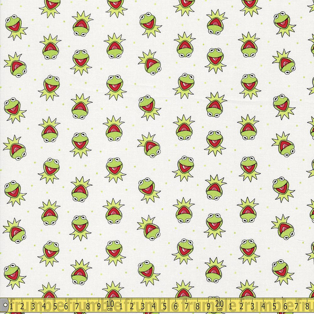 The Muppet Collection - Kermit The Frog - White Sewing and Dressmaking Fabric
