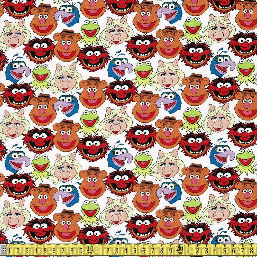 The Muppet Collection - The Muppet Cast - White Sewing and Dressmaking Fabric