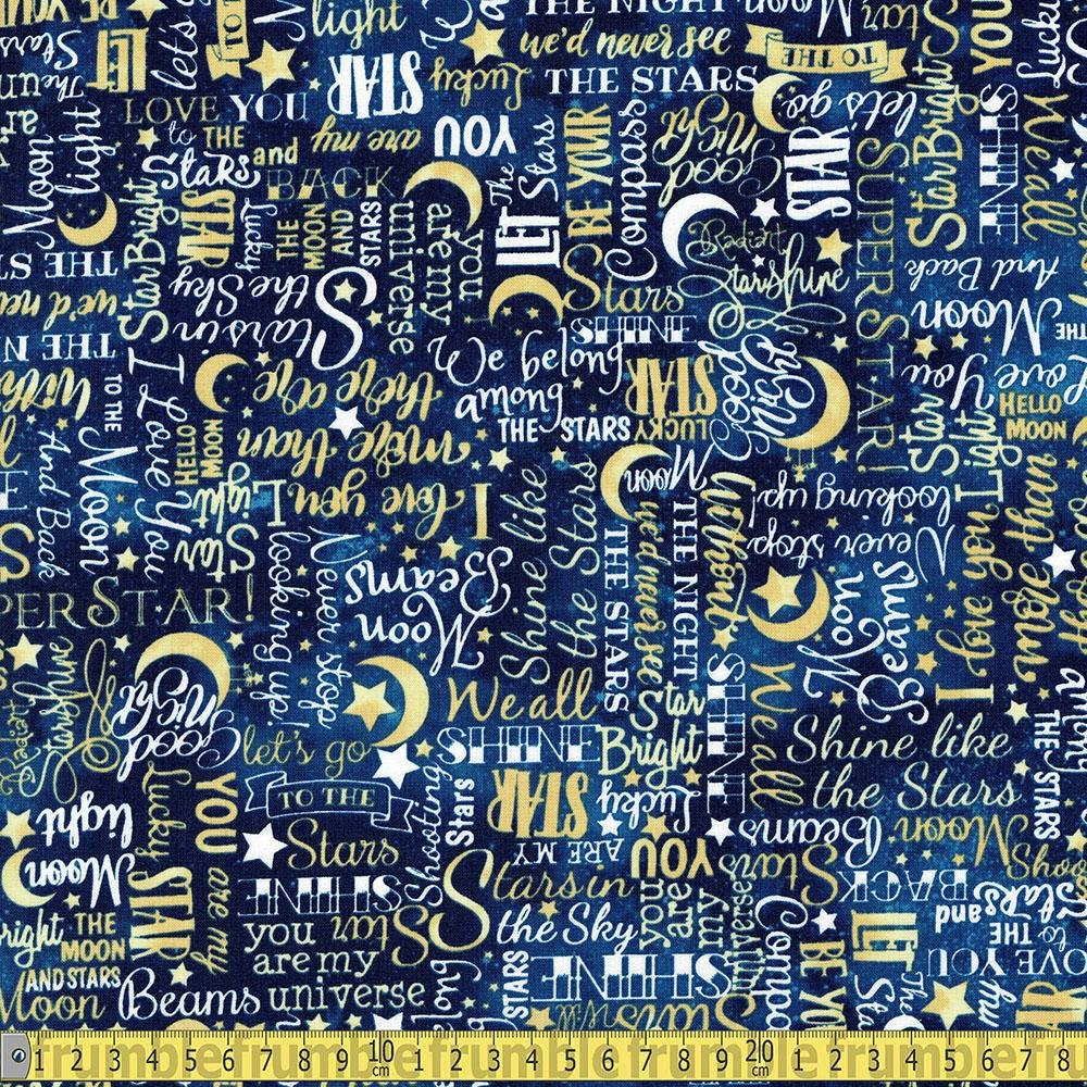 Timeless Treasures - Love You To The Moon And Back - Stars Text Yellow Sewing and Dressmaking Fabric
